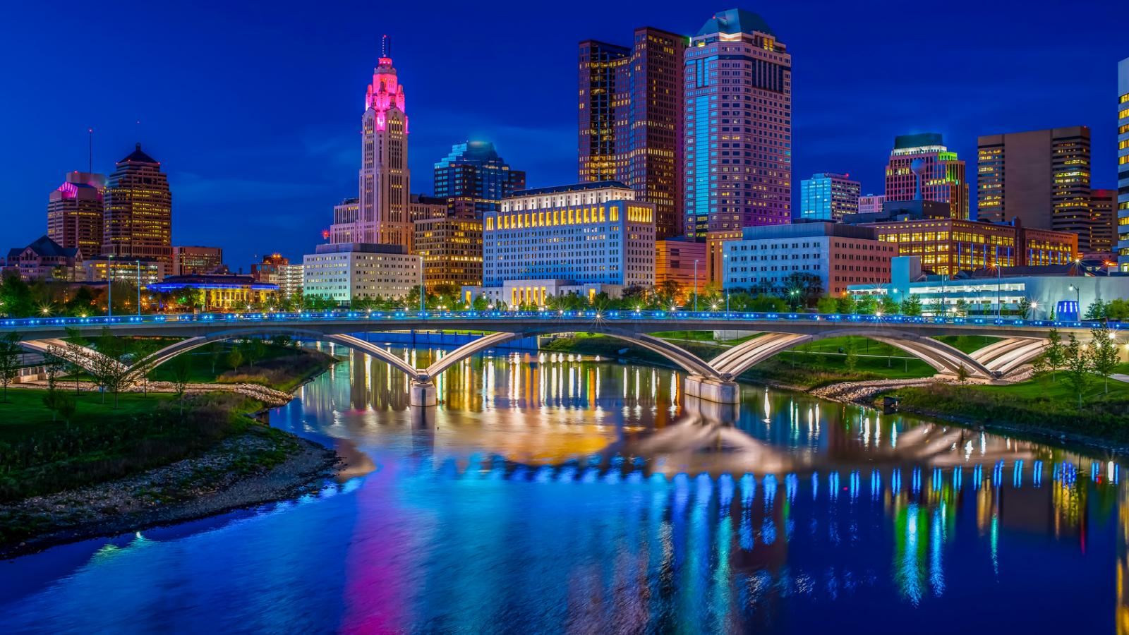 Downtown Columbus skyline at night
