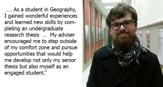 undergraduate thesis geography Geography undergraduate thesis titles since 1968, honours geography students at lakehead have been required to submit original research in the form of a thesis as part of their fourth and final year as the list of subject areas below indicates, research projects have covered a wide spectrum of geography.
