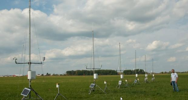 Weather instruments set up by students